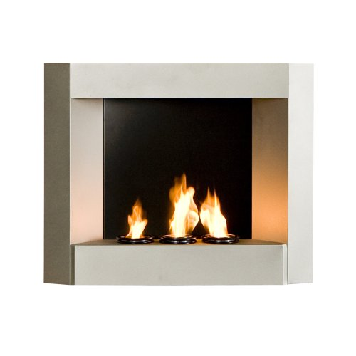 SEI Contemporary Wall Mount Gel Fuel Fireplace Silver Home Garden Fireplaces