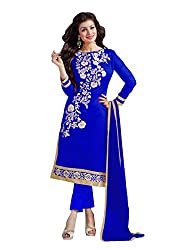 The Zeel Fashion Blue Color gorgette Anarkali Salwar Suit Unstitched dress material