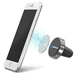 Car Mount, PAMKER Universal Colorful Air Vent Magnetic Aluminum Alloy GPS Car Phone Holder Cradle for Smartphones Apple iPhone 6S/6/6S Plus/SE/5S/5, Samsung Galaxy S7/S6/Note 5, HTC - [Space Gray]