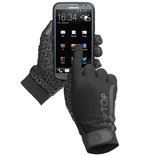 Touch Screen Guanti, ideale per running Rugby Football Walking, Black, S