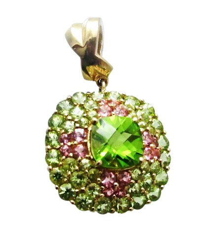 7.95 Cttw Peridot & Pink Tourmaline Pendant Enhancer in 14k Solid Gold