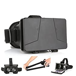 LEAP-HD VIRTUAL REALITY CARDBOARD TOOLKIT SMARTPHONE VIRTUAL REALITY VIEWER ColorCross Universal Google Cardboard Plastic Version 3D VR Complete Kit Virtual Reality Glasses Headset for Real HD 3d Experience (A)
