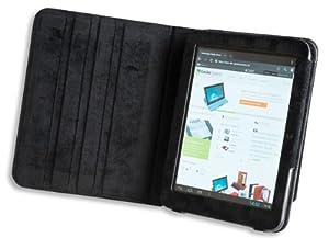 Die original GeckoCovers Tablet PC 4 Hülle Cover Tasche in der Farbe black / schwarz für den Weltbild / Thalia Cat Tabl PC 4 - Mit original Gecko Applikation und Stand - und Präsentationsfunktion
