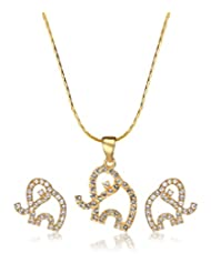 Eclat Brass Gold Plated Pendant Set For Women New Fashion Jewelry (314128G)
