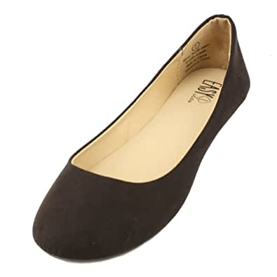 Microsuede Ballerina Comfy Casual Flats Shoes Ballet Slipper Loafers Black Sz 8