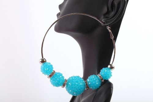 Neon Blue Shamballah 3 Inch Hoop Earrings with 5 Disco Balls and 4 Iced Out Rondelle Loops Basketball Mob Wives Lady Gaga Poparazzi