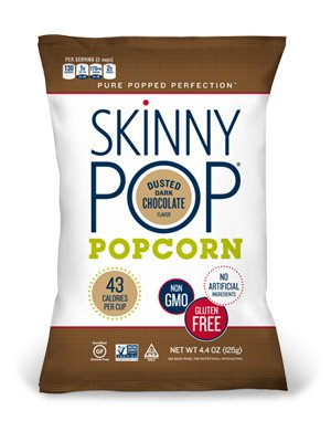 Skinny Pop Popcorn, Dusted Dark Chocolate 4.4 oz (Pack of 3)