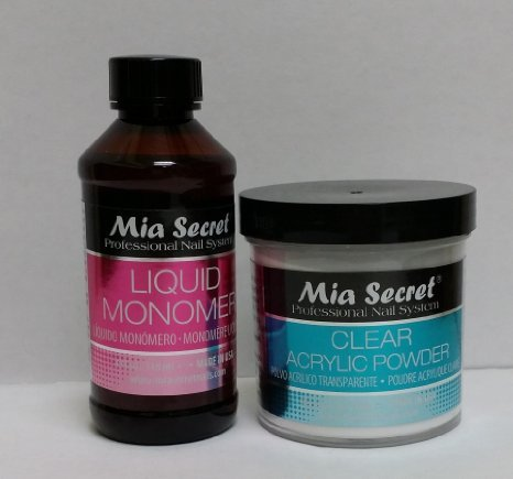 MIA SECRET PROFESSIONAL LIQUID MONOMER 4 oz + CLEAR ACRYLIC POWDER 4 oz NAIL SYSTEM