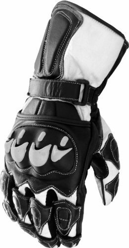 Leather Motorcycle Race Gloves Black/White - XXL