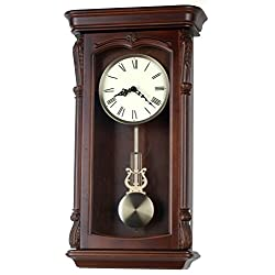 Musa Solid Wood Walnut Pendulum Wall Clock with Westminster Chime, 26-Inch