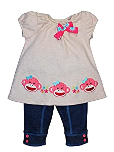 Baby / Infant Girls Pink Sock Monkey Leggings Outfit by Baby Starters
