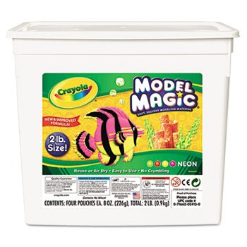 Model Magic Modeling Compound, 8 oz each/Neon, 2 lbs by Crayola. (Catalog Category: Paper, Pens & Desk Supplies / Art & Drafting) kitcyo588750pac103637 value kit crayola pip squeaks telescoping marker tower cyo588750 and pacon riverside construction paper pac103637