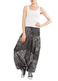 Peacock Print 2 in 1 Harem Pants Jumpsuit Black & White