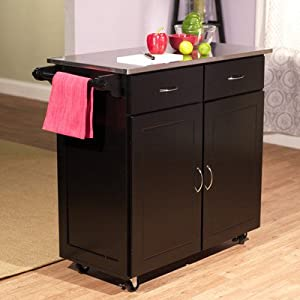 Kitchen Cart with Stainless Steel Top Base Finish: Black
