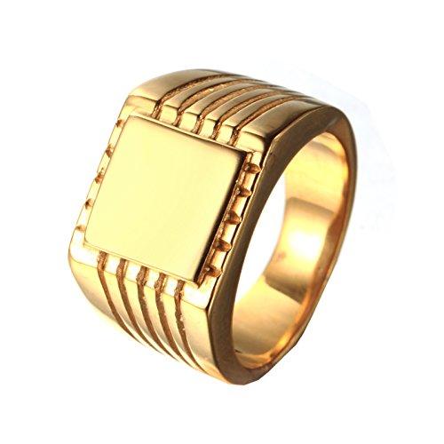 HIJONES Uomo Design Semplice Acciaio Inossidabile Marcatore Piazza Anello Engravable Oro 26