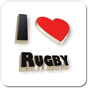 I Heart Rugby - Drinks coaster - Unusual Birthday gift or fun Christmas present idea. Perfect for Father's or Mother's Day from MediaNI