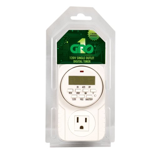 GRO1 Hydroponic 120V Single Outlet Digital Timer