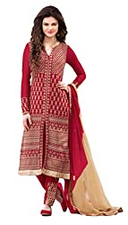 Style Amaze Georgette Red Dress Material