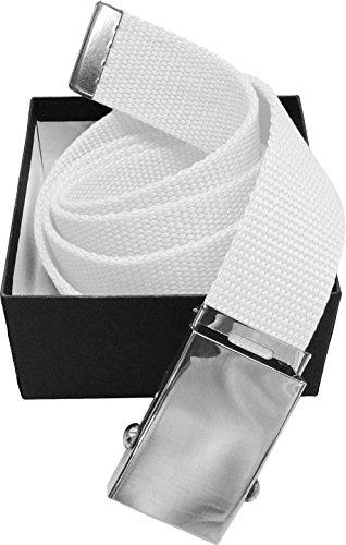 """LUNA Premium Cotton 45"""" Canvas Web Belt - White - 1.5"""" Buckle"""