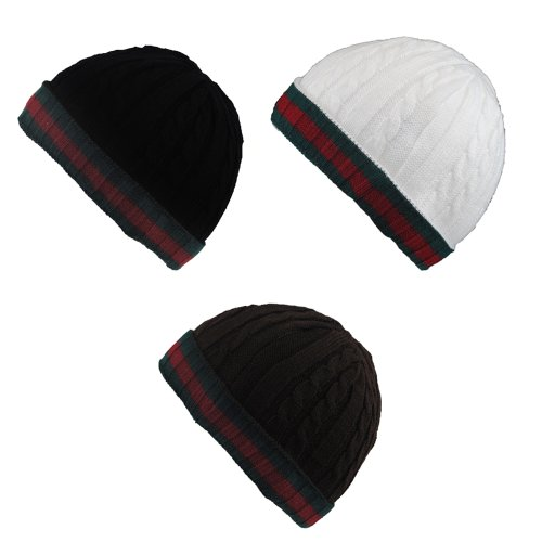 Dekko Tri-Colour Cable Knit Winter Wooly Roll-Up Beanie Hat - Black picture