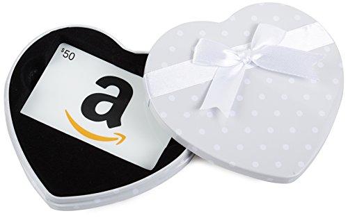 Amazon.com Heart Gift Card Tin – $50, White Card image
