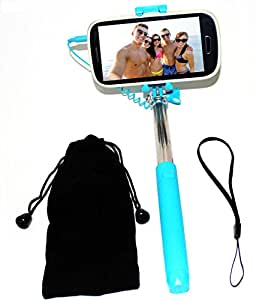 Smallfie X1 - The Most Compact Wired Selfie Stick: Quickly and Easily Snap Beautiful Memories. Battery and Bluetooth Free. Small in Size, Big in Performance. Compatible With Most Phones. (Blue)