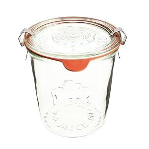 12 Weck Gläser 1/2 Liter Sturzglas Einmachgläser Sturzgläser Weckgläser / inkl Einkochringe Klammern Glasdeckel
