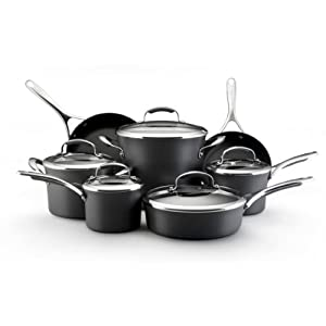 Kitchenaid gourmet hard anodized nonstick 12 piece cookware set home kitchen - Kitchen aid pan set ...