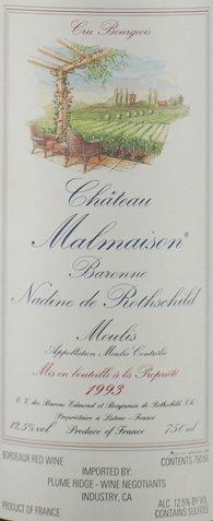 1993 Château Malmaison Moulis Bordeaux Red 750 Ml