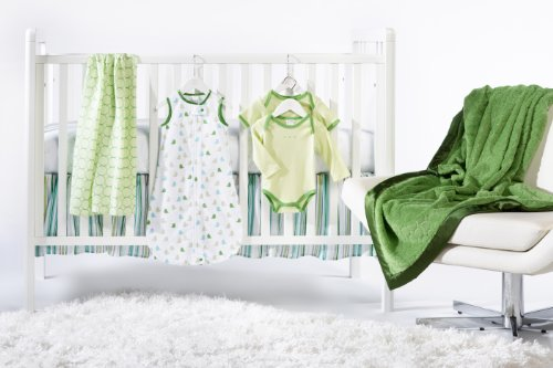 SwaddleDesigns 7 Piece Lightweight Crib Bedding Set with Crib Skirt with Luxury Adult Blanket, Pure Green, 0-6months
