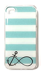 Infinity Anchor iPhone 4 Case – Mint Blue Striped iPhone 4s Case