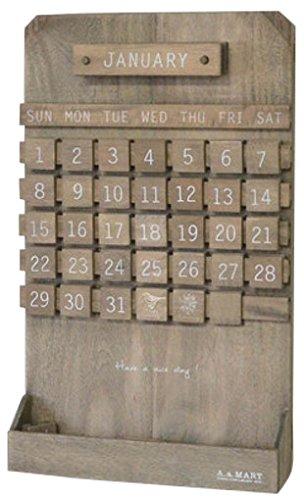 azi-azi 木製 万年カレンダー 壁掛け ブラウン AZ-1014