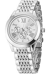 Soleasy Unisex Elegant Design Steel Band Quartz Wrist Watch(Silver)WTH0933