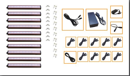 """10 X 7"""" Led Under Cabinet Light Complete Kit Cool White (3000K) - New With Diffusers! Ez-Connect Series W/ All Accessories"""