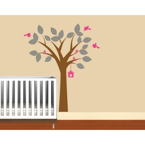 Nursery Kids tree vinyl wall decal with birds polka dot leaves and hanging birdhouse