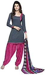 Fashions World Fancy Grey Crepe Dress Material