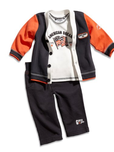 GUESS Kids Boys Newborn Cardigan, Short-Sleeve Tee and Pants set (0-9m), NAVY (6/9M)