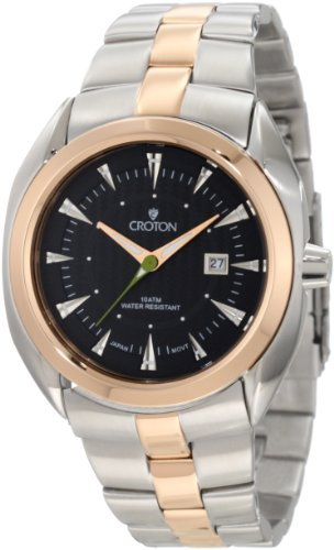 Croton Men's CN307288TTBK Black Dial Two Tone Stainless Steel Watch