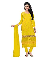 Clothing Deal Women's Georgette Unstitched Dress Material (Yellow)