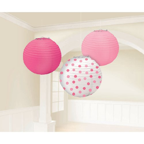 "Amscan Pretty Round Party Paper Lantern, 9-1/2"", Pink"