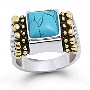 Bling Jewelry Designer Inspired Bali Sterling Silver Caviar Turquoise Ring - 7