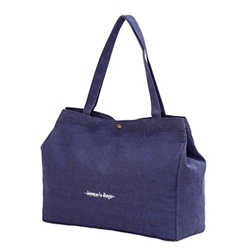 Koly_Moda delle ragazze delle donne della tela di canapa borsa di acquisto Tote Shopper Borsa da spiaggia (Blu scuro)