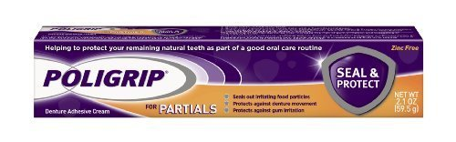 Super Poli-Grip Partials Seal and Protect Denture Adhesive Creams, 0.75 Ounce (Pack of 12) - 1