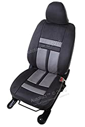 Autofact Brand Suede / Buff Velvet Car Seat Covers for Maruti Car 800 Old Model in Dark Grey and Dotted Light Grey Combination