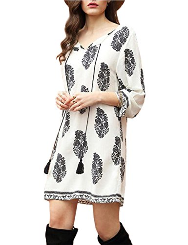 Leadingstar Women Round Neck 3/4 Sleeve Tie Vintage Printed Ethnic Style Summer Shift Dress White XL (Young Womens Clothing compare prices)