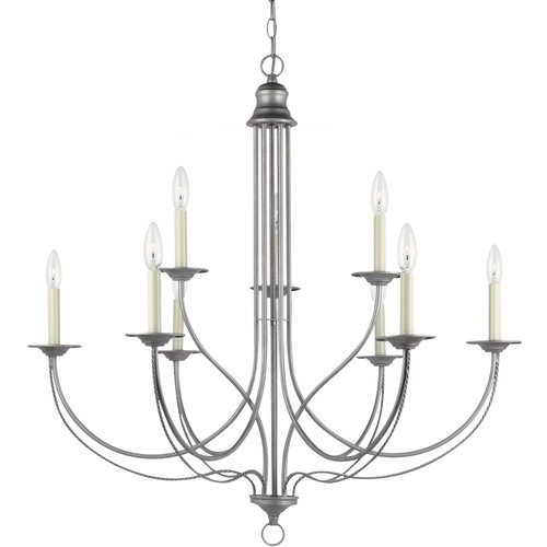 B00BJKJAKQ Sea Gull 31295-57 Plymouth 9-Light Weathered Multi Tier Chandelier, Pewter