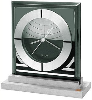 Bulova Frank Lloyd Wright Loggia Gate Table Clock - Glass & Aluminum Case