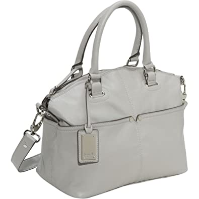 Tignanello Polished Pocket Convertible Satchel (Light Grey)