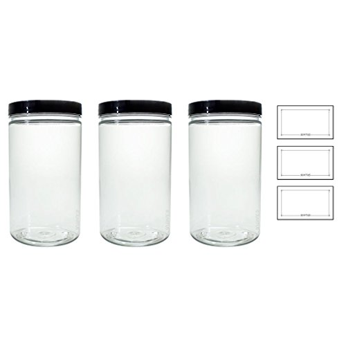 Clear 32 oz PET Plastic (BPA Free) Large Refillable Jar - (3 pack) + Labels (Refillable Plastic Jars compare prices)