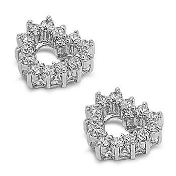 Little Treasures Nickel Free Sterling Silver Earrings Clear CZ open heart Stud Earring